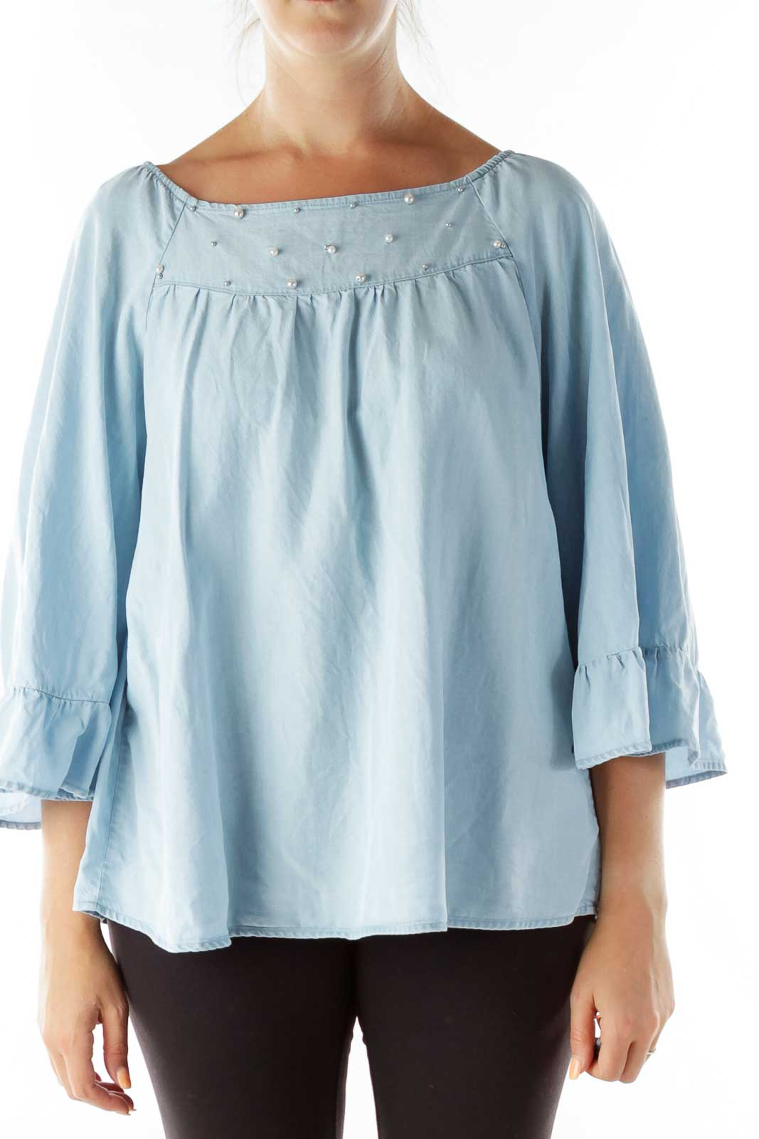 Blue Pearl Beaded Off-Shoulder Blouse Front