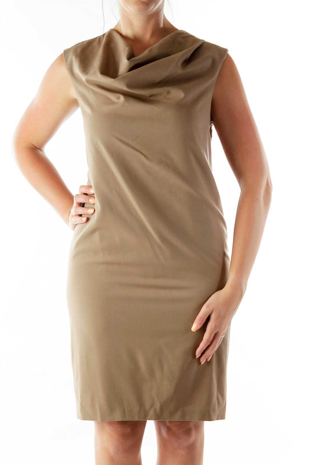 Brown Loose Shift Dress Front
