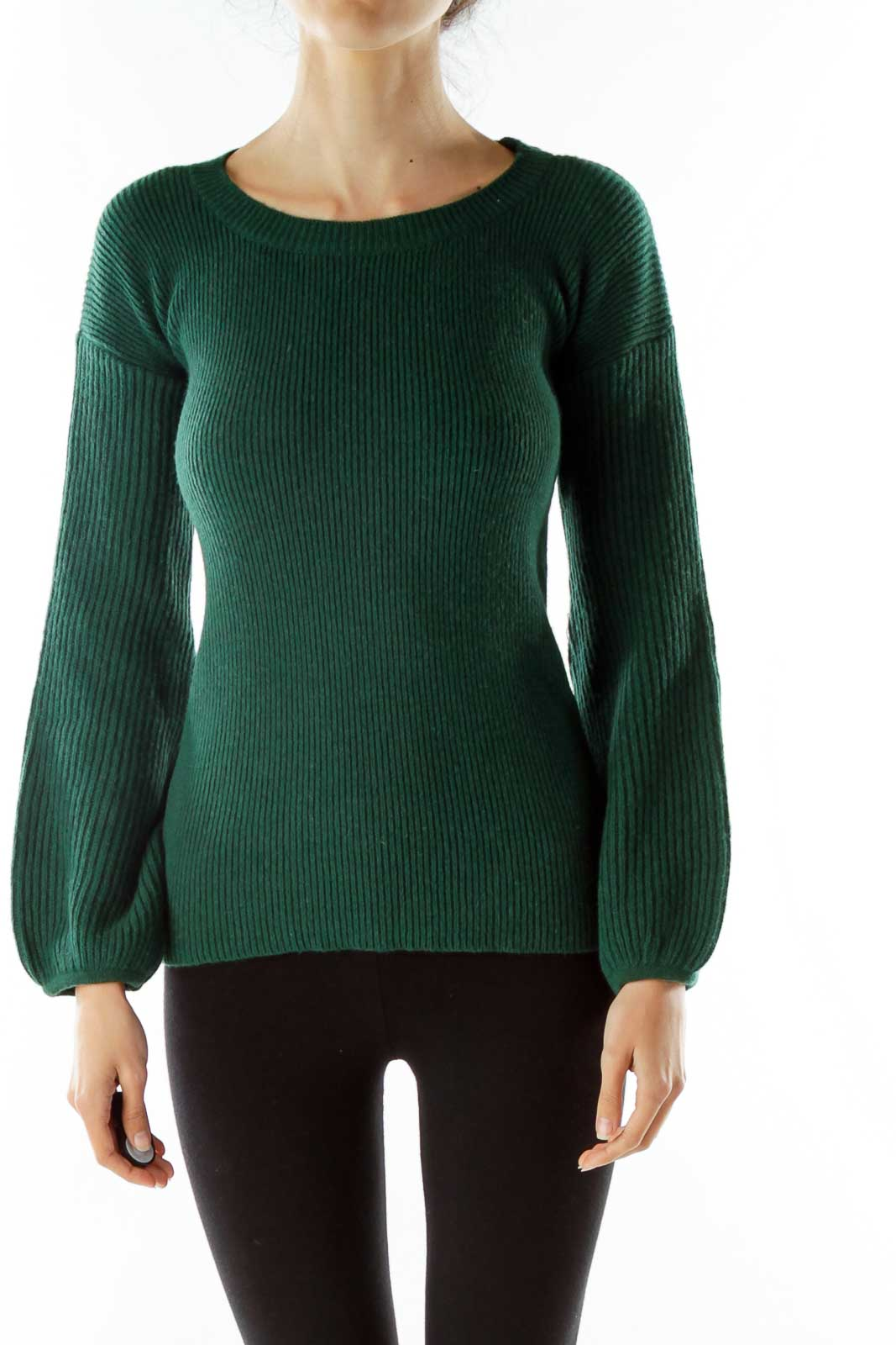 Green Knit Sweater Front