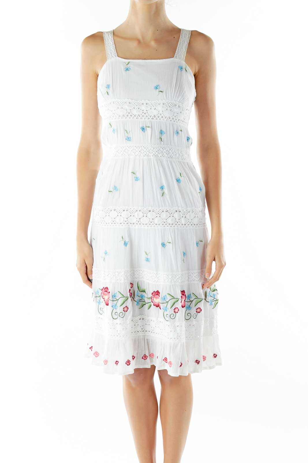 White Red Blue Embroidered Crocheted Dress Front