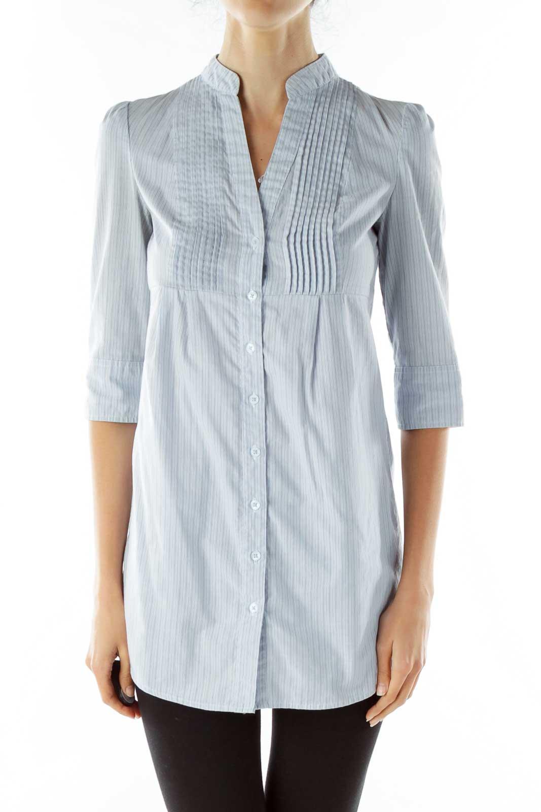 Blue Pinstripe Shirt Dress Front