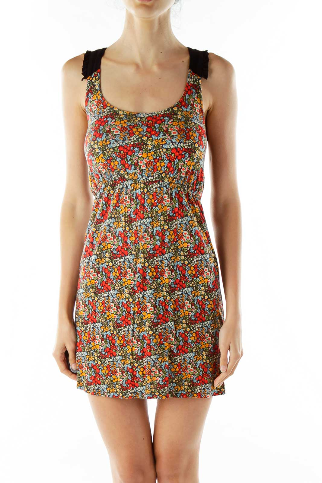 Multi-Color Foral Day Dress Front