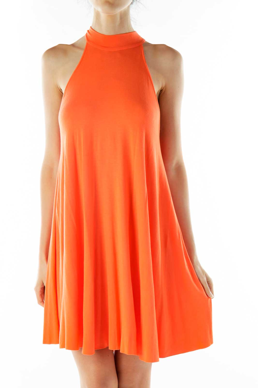 Orange Halter Shift Dress Front