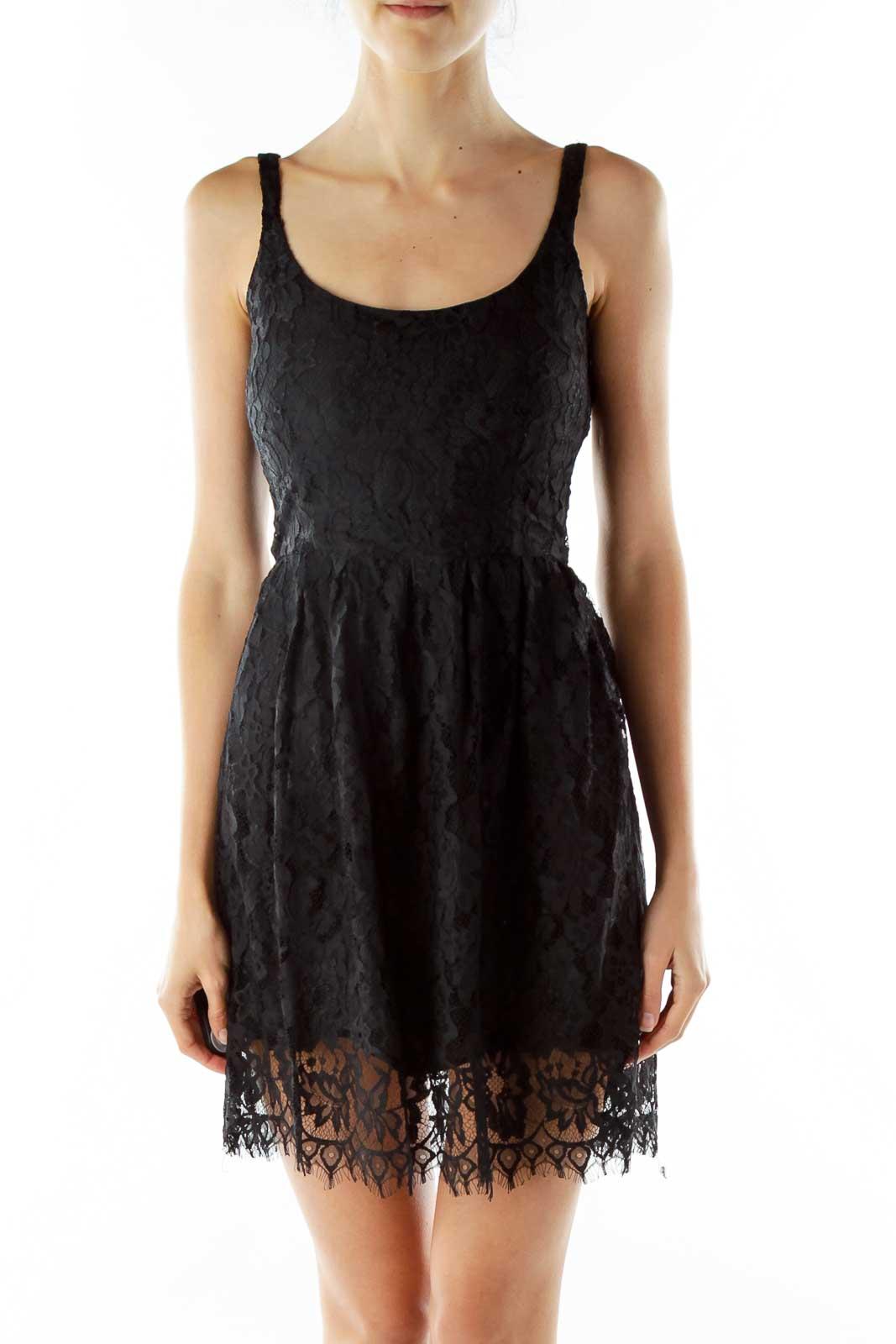 Black Lace Cocktail Dress Front