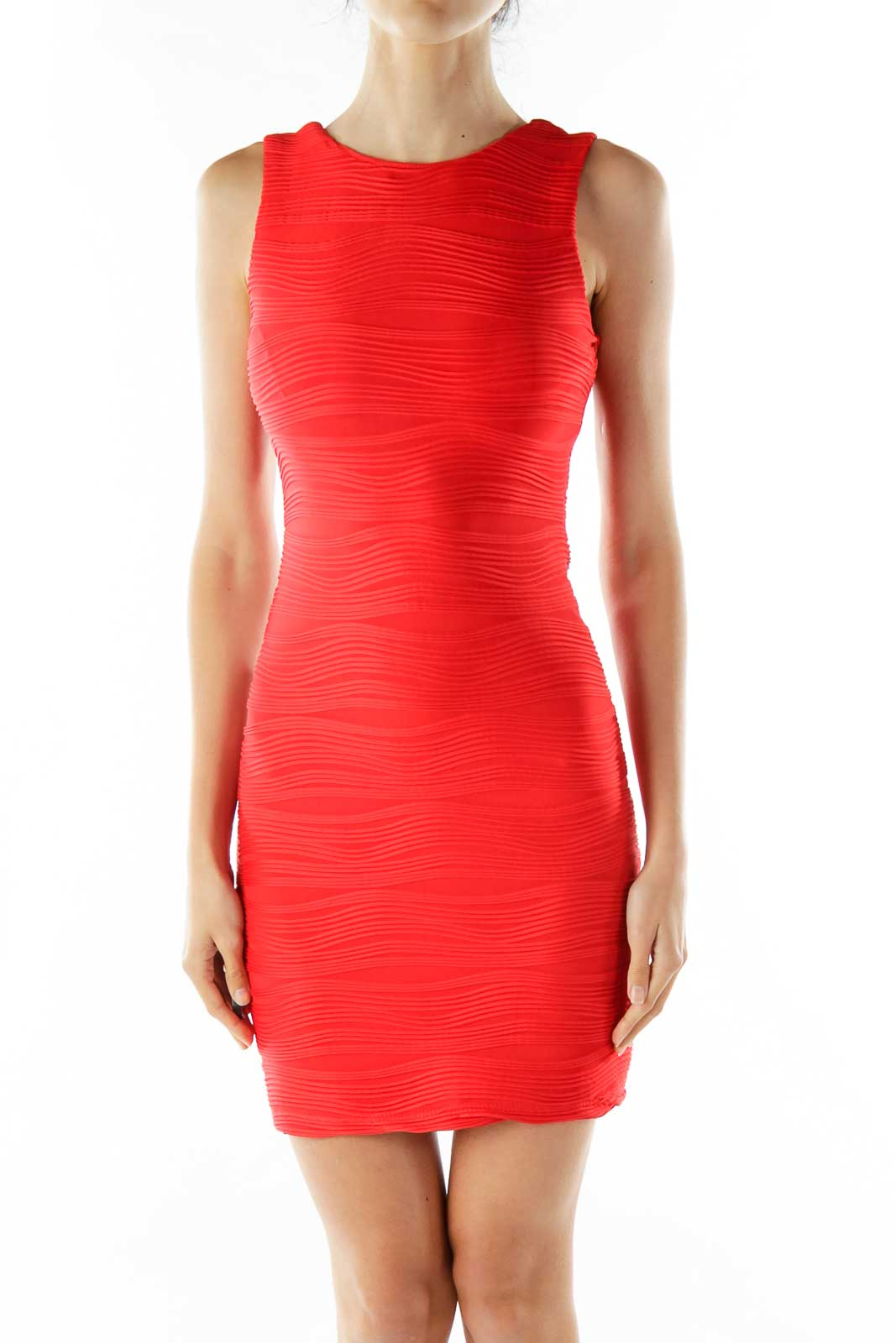 Red Sheath Cocktail Dress Front