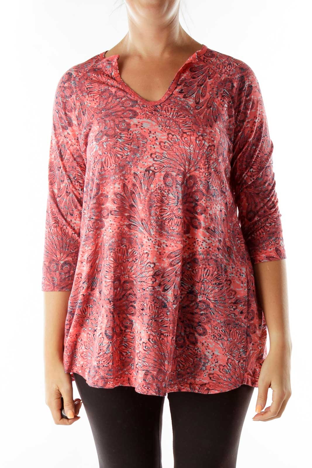 Pink Feather Print T-Shirt Front