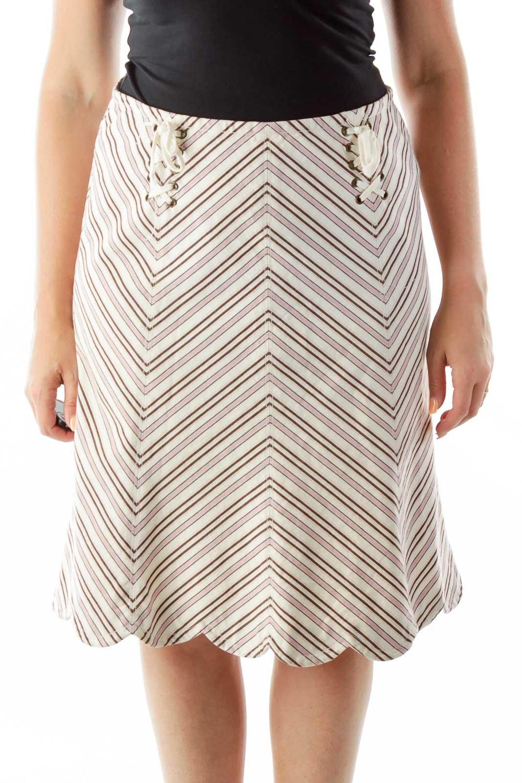 Beige Purple Chevron Print Skirt Front