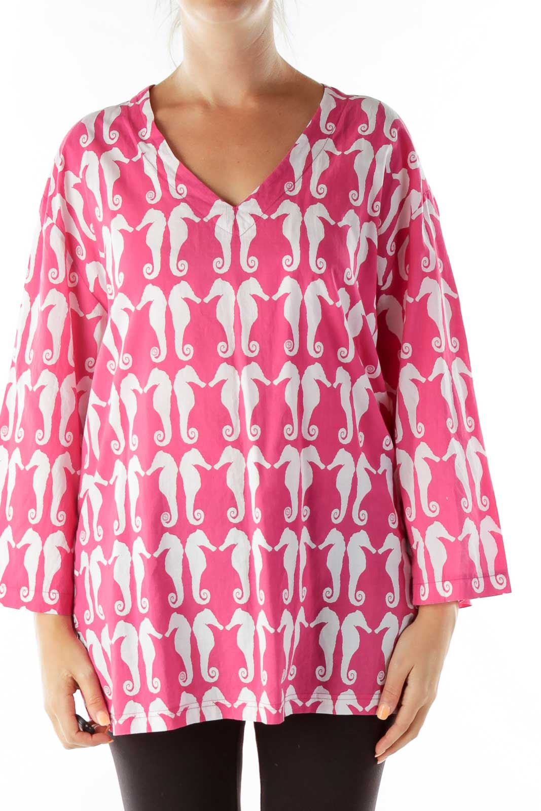 Pink White Seahorse Tunic Front