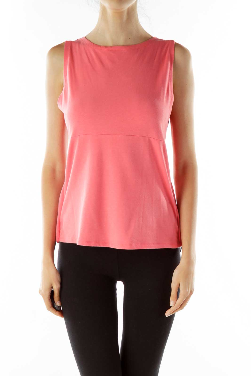 Pink Gray Sheer Top Front