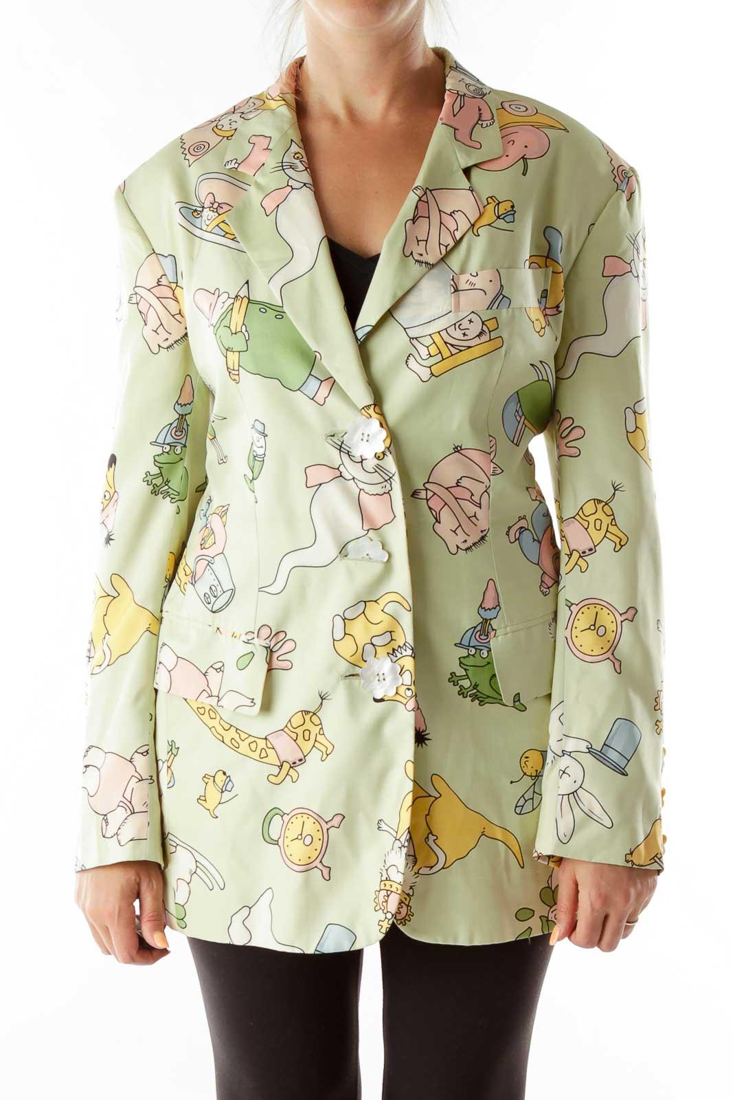 Green Cartoon Flower Buttons Designer Blazer Front
