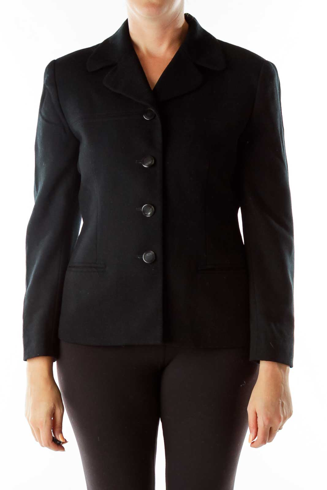 Black Single-Breasted Wool Coat Front
