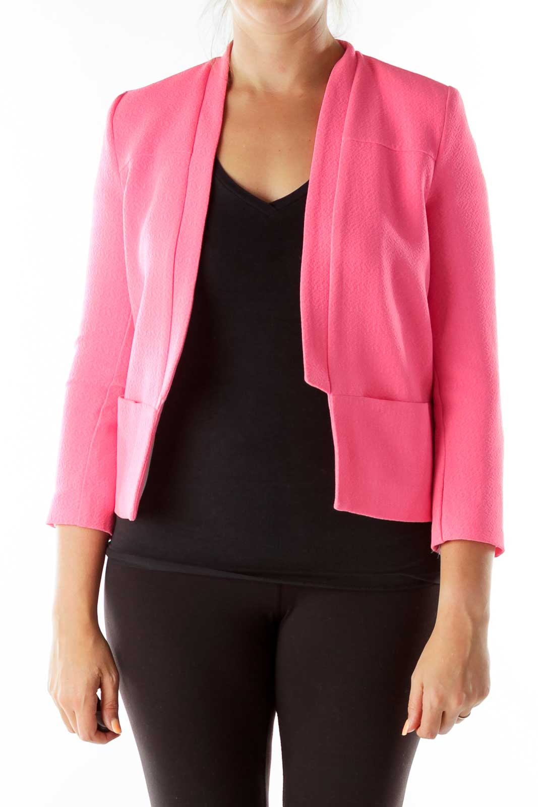 Bubble Pink Collarless Pocketed Blazer Front