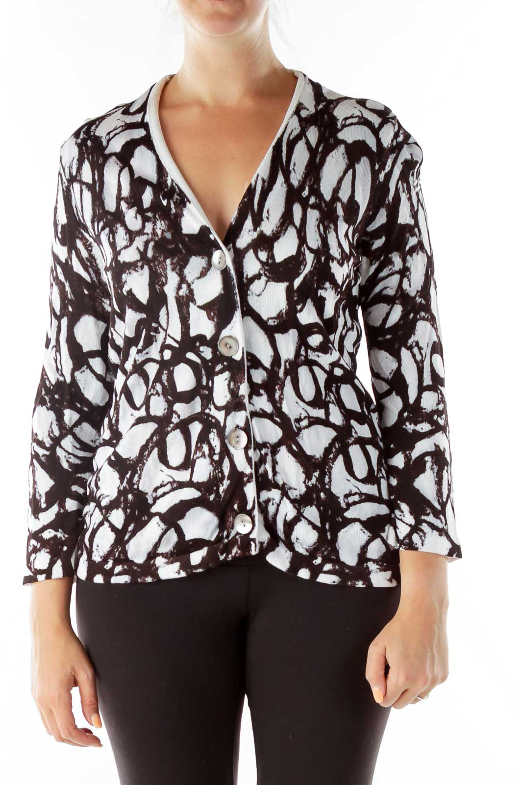 Black White Print Knit Cardigan Front