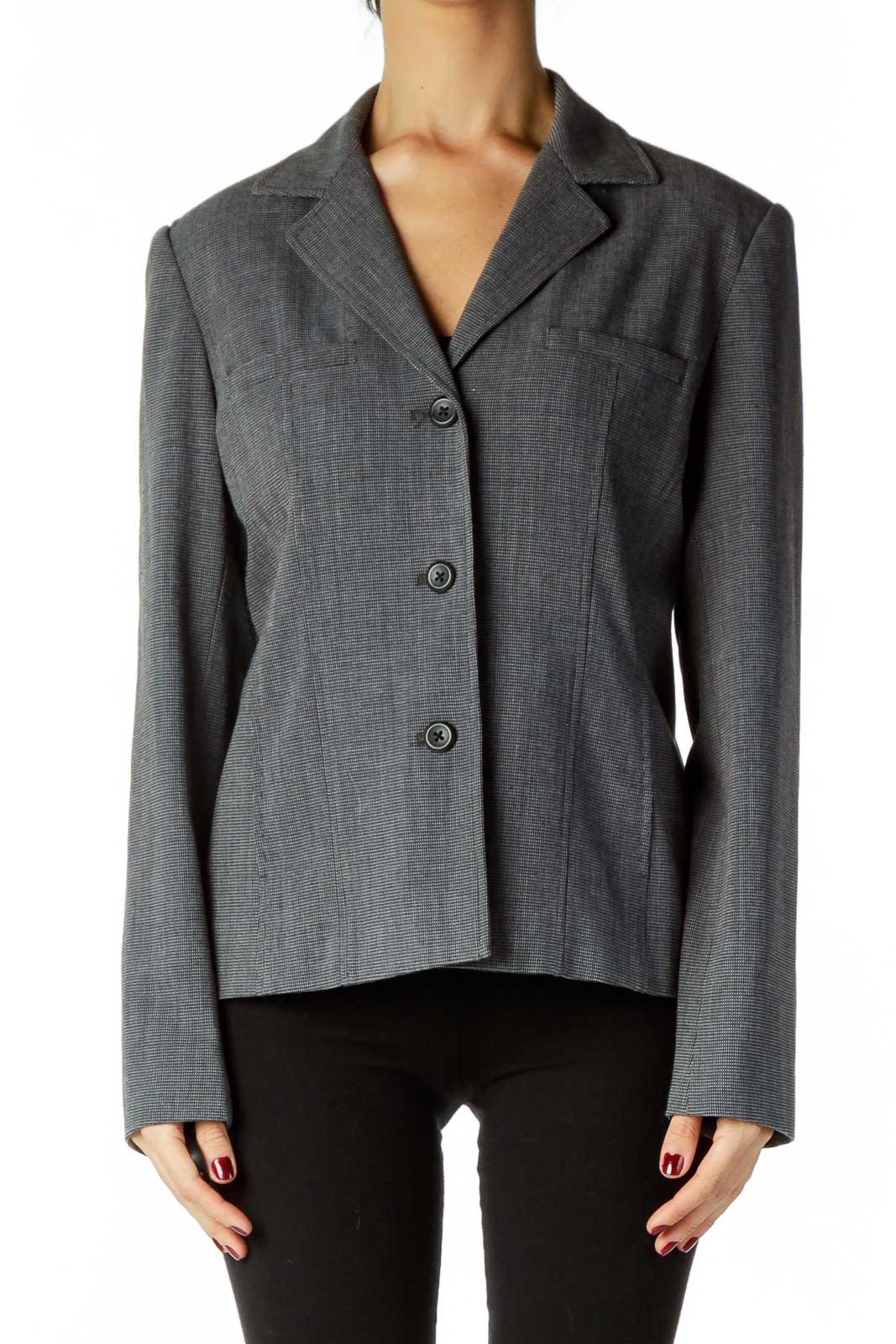 Black Gray Blazer Front
