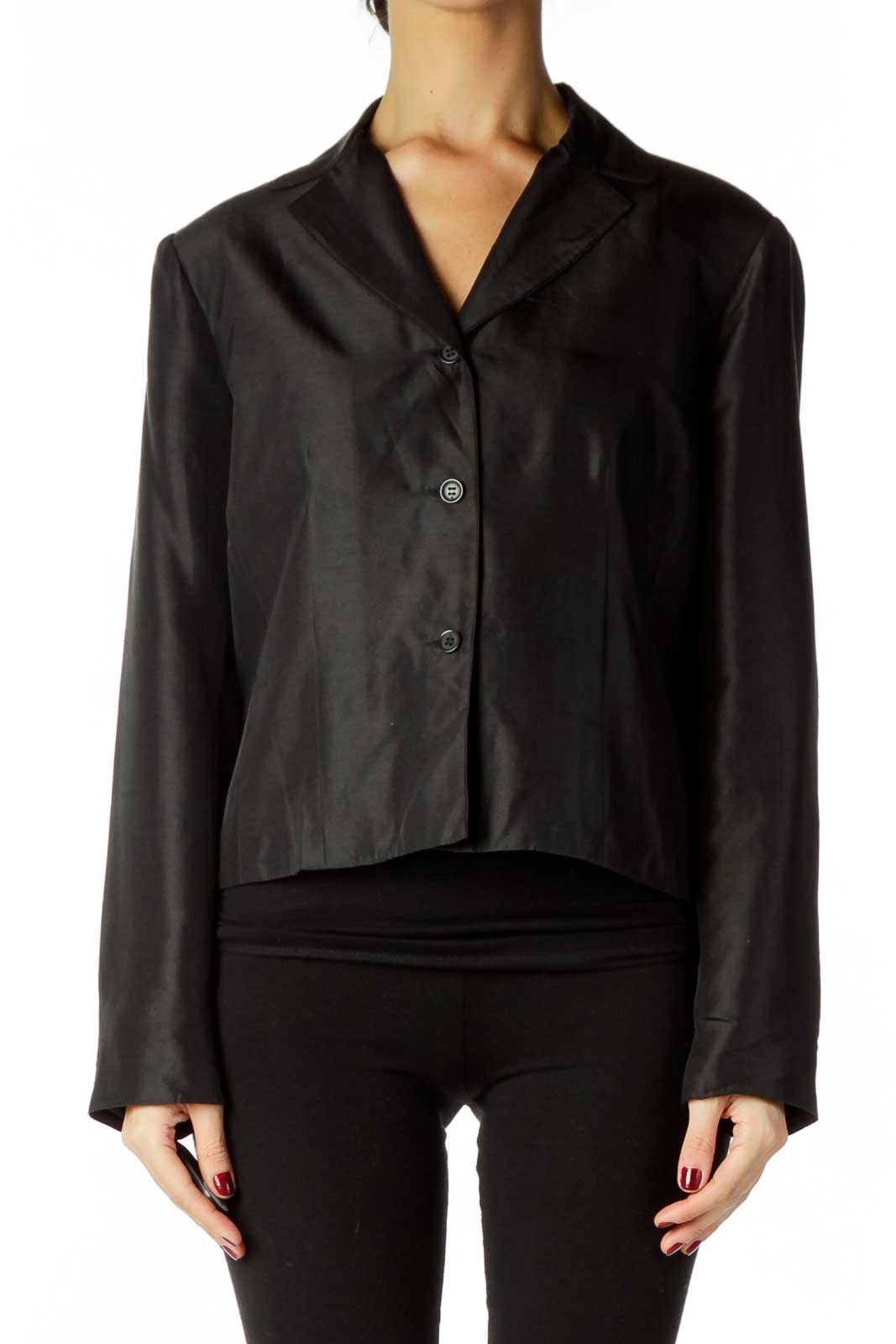 Black Shoulder Padded Blazer Front