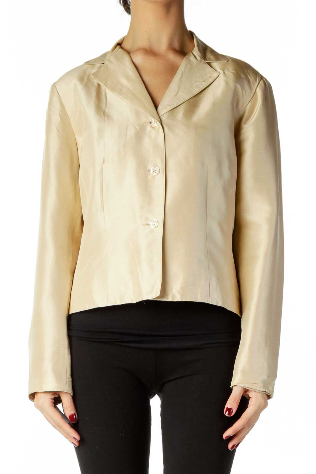 Beige Shoulder Padded Blazer Front