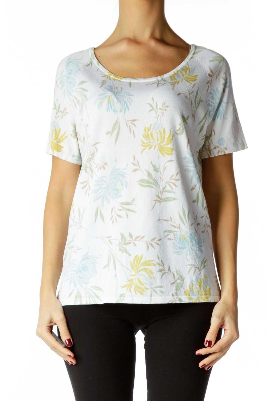 White Blue Green Flower Print Shirt Front