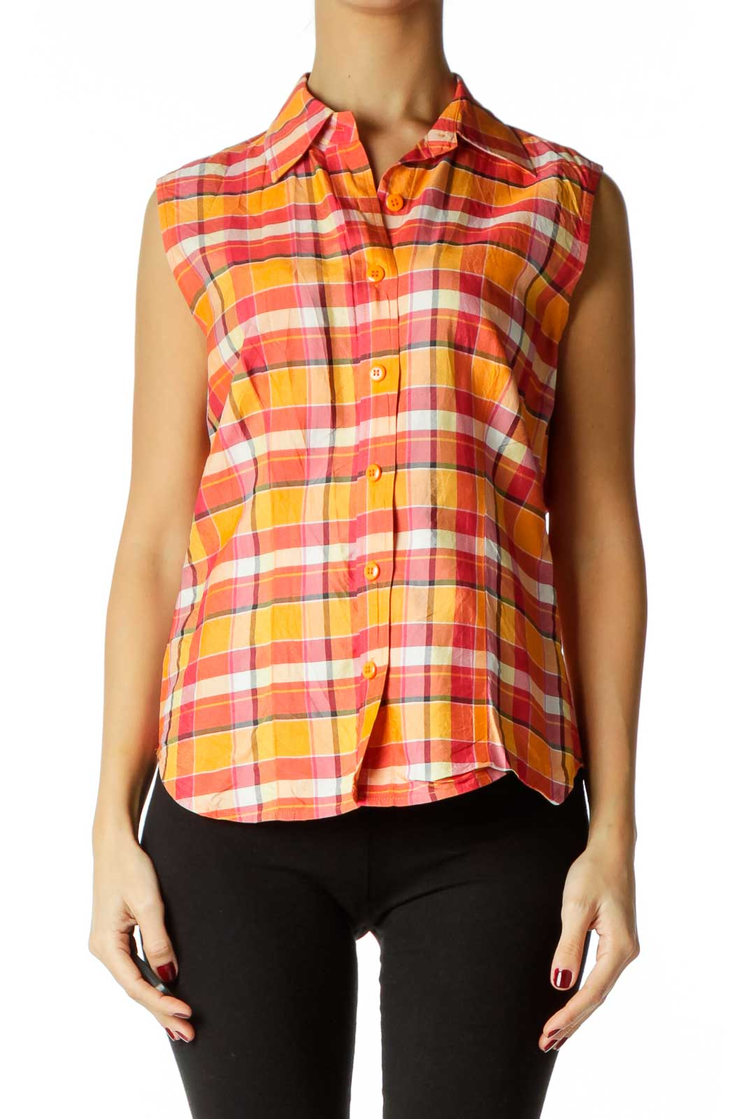 Pink Orange White Plaid Tunic Front