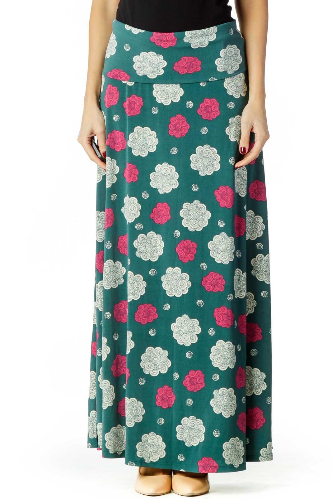 Green Cream Pink Maxi Skirt Front