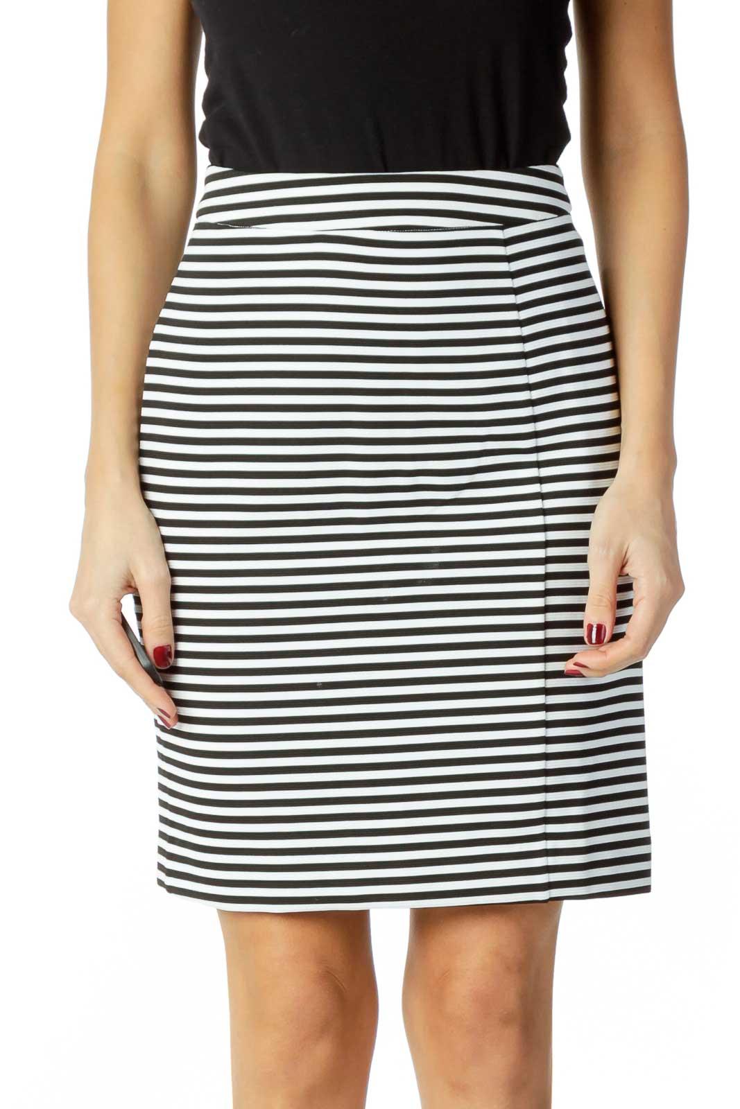 Black White Striped Pencil Skirt Front
