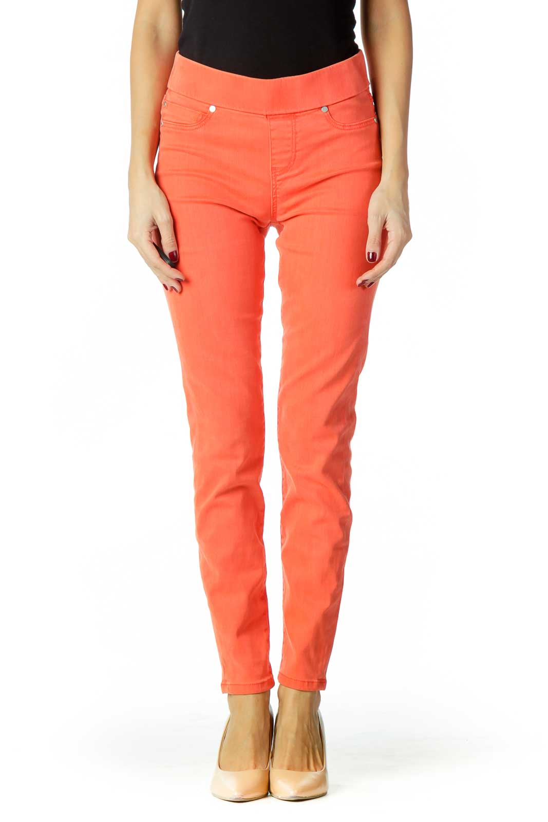Orange Stretchy Skinny Jeans Front
