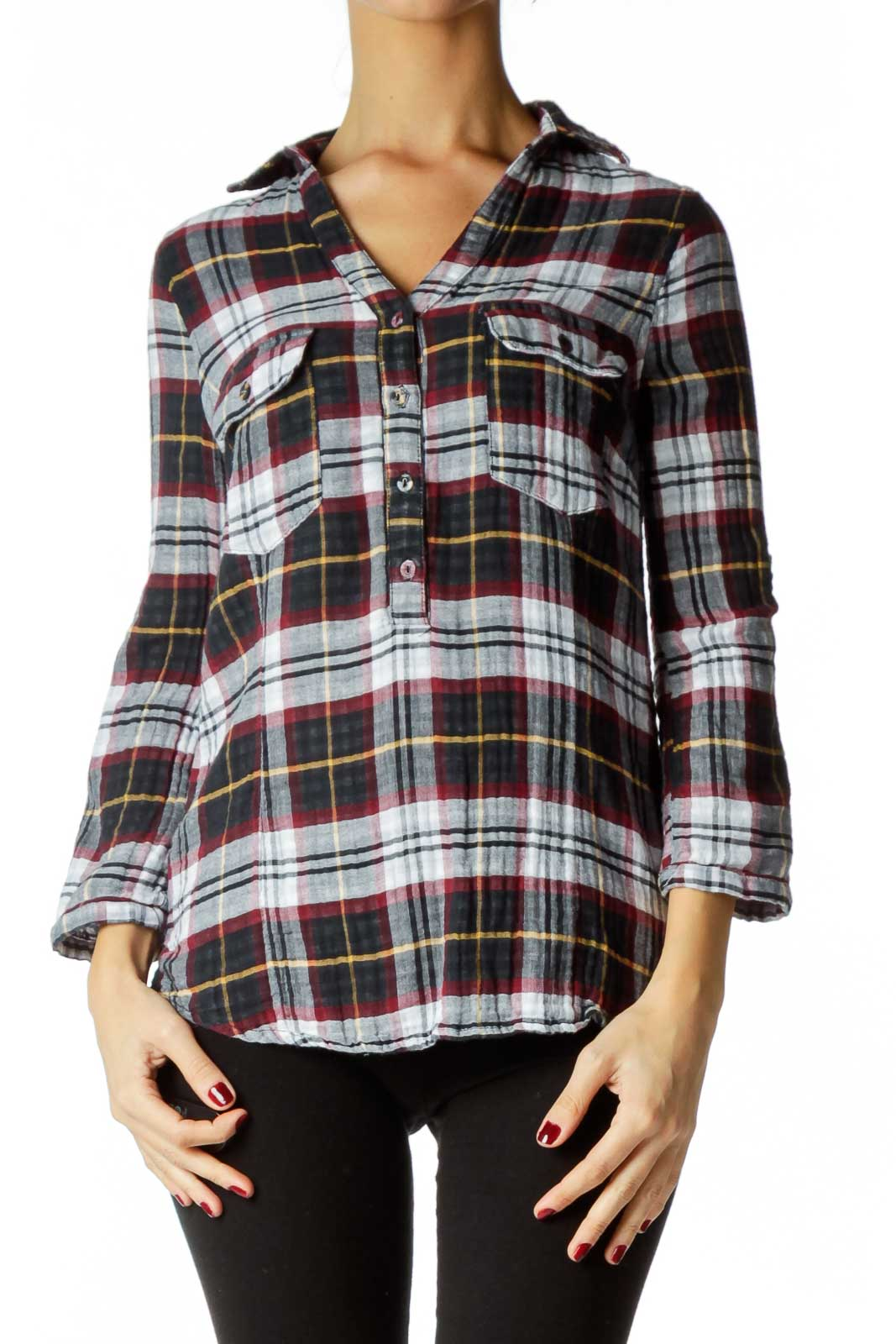 Navy Red Plaid Shirt Front