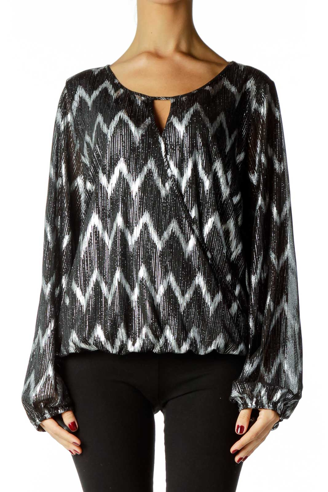Black Silver Metallic Print Blouse Front