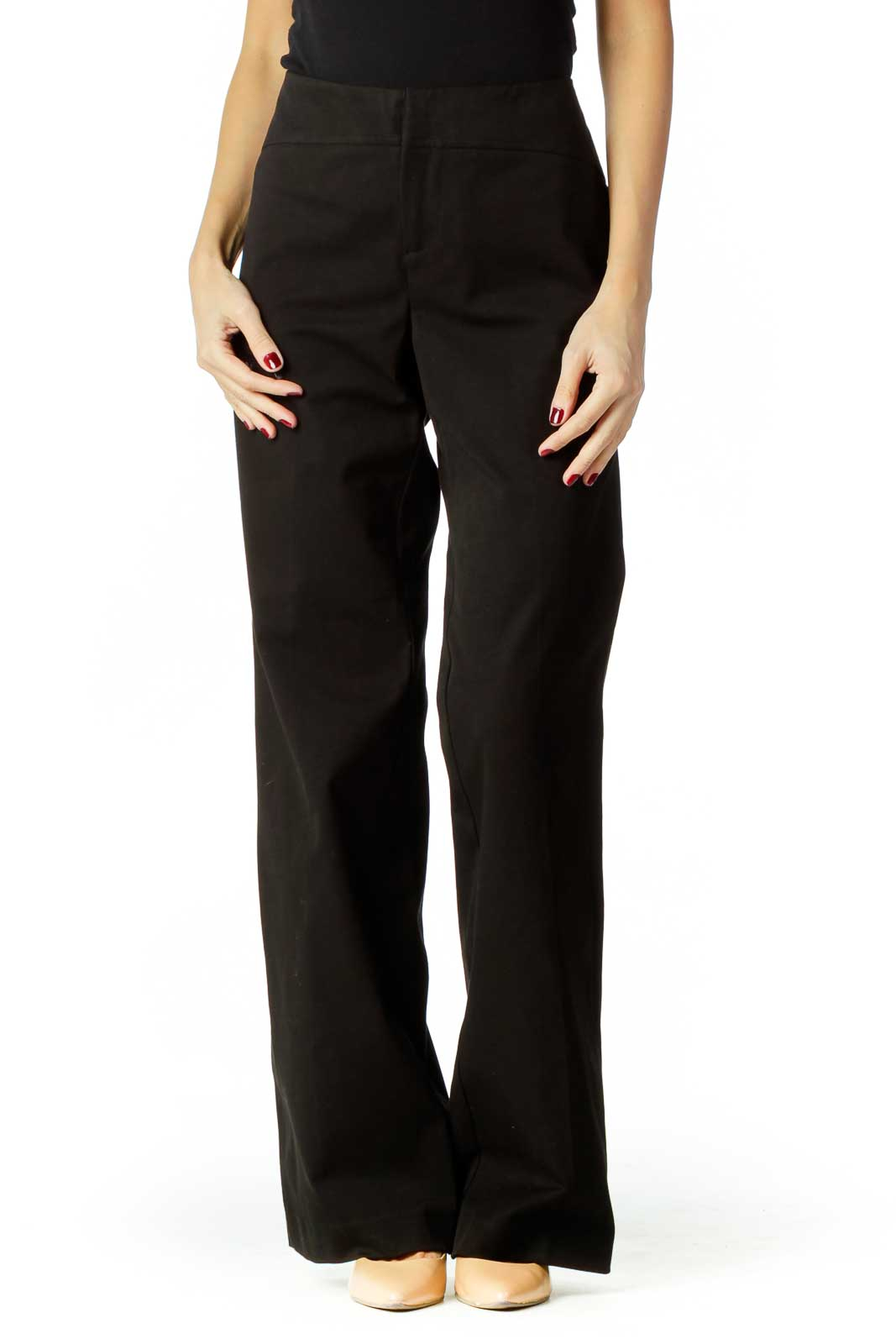 Black Wide-Leg Slacks Front