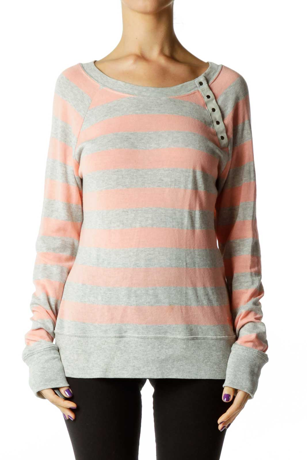 Gray Pink Striped Sweater Front