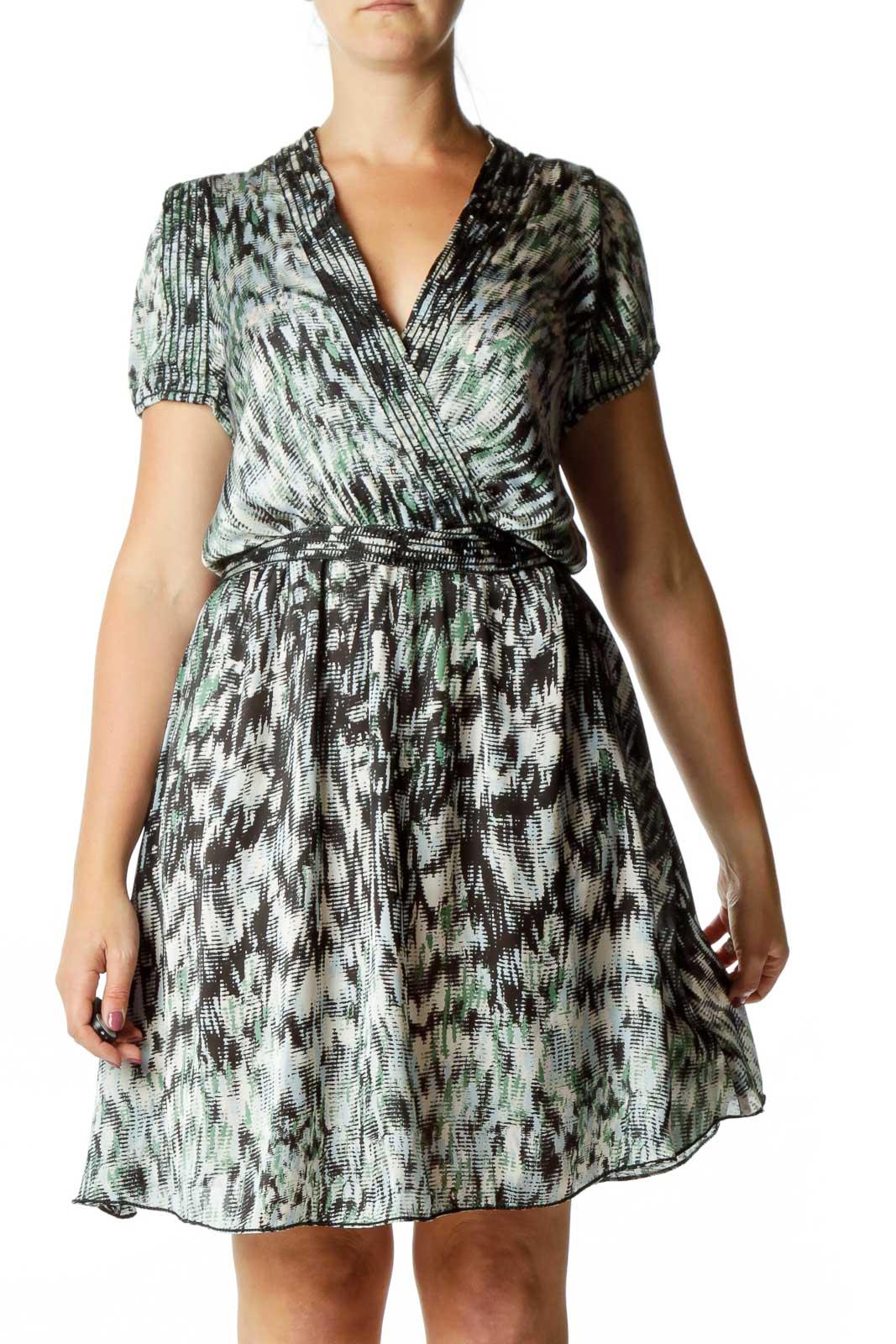 Black Green Blue V-Neck Work Dress Front