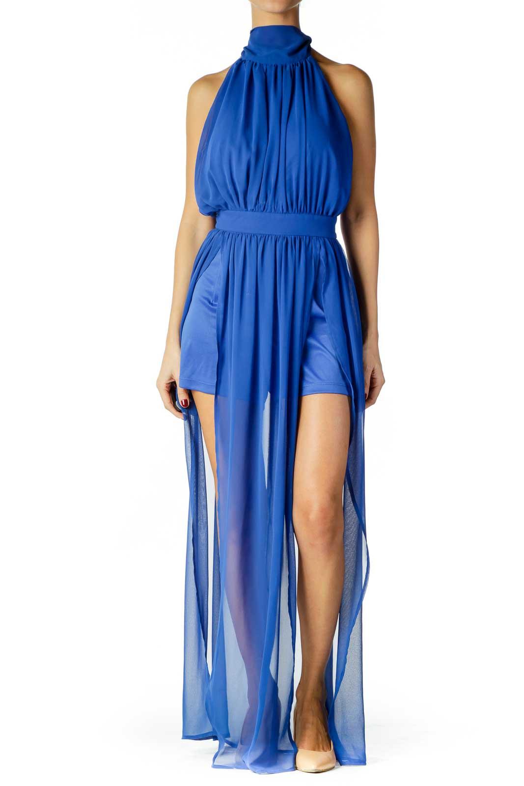 Blue Halter Sheer Dress Front