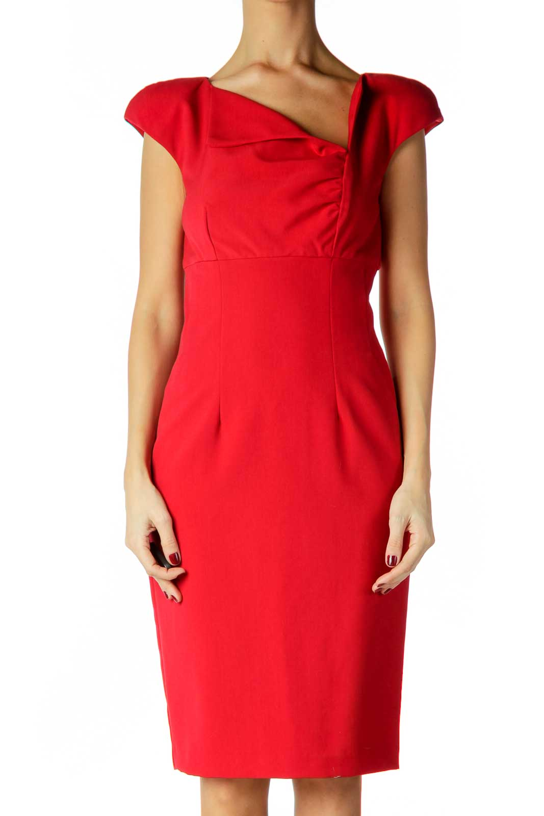 Red Ruched Work Dress Front