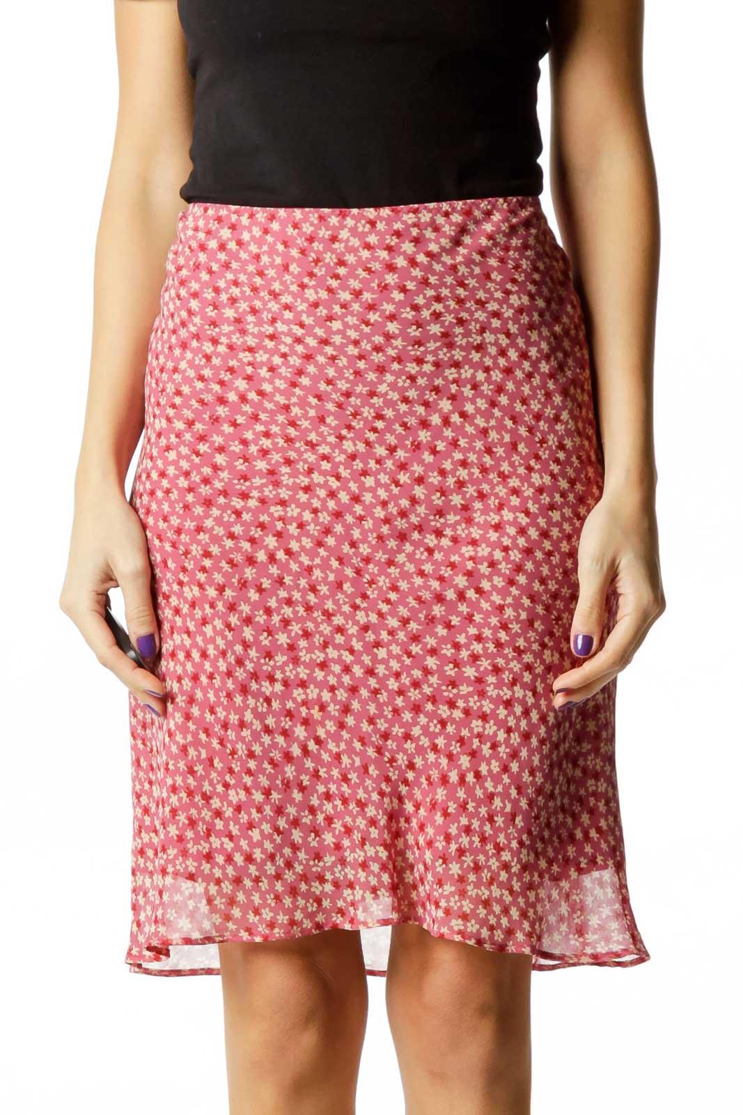 Pink Tan Flower Print Skirt Front