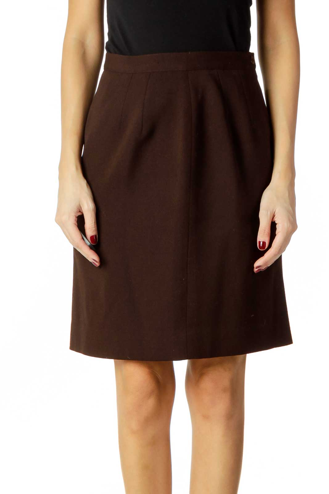 Brown Wool Pencil Skirt Front