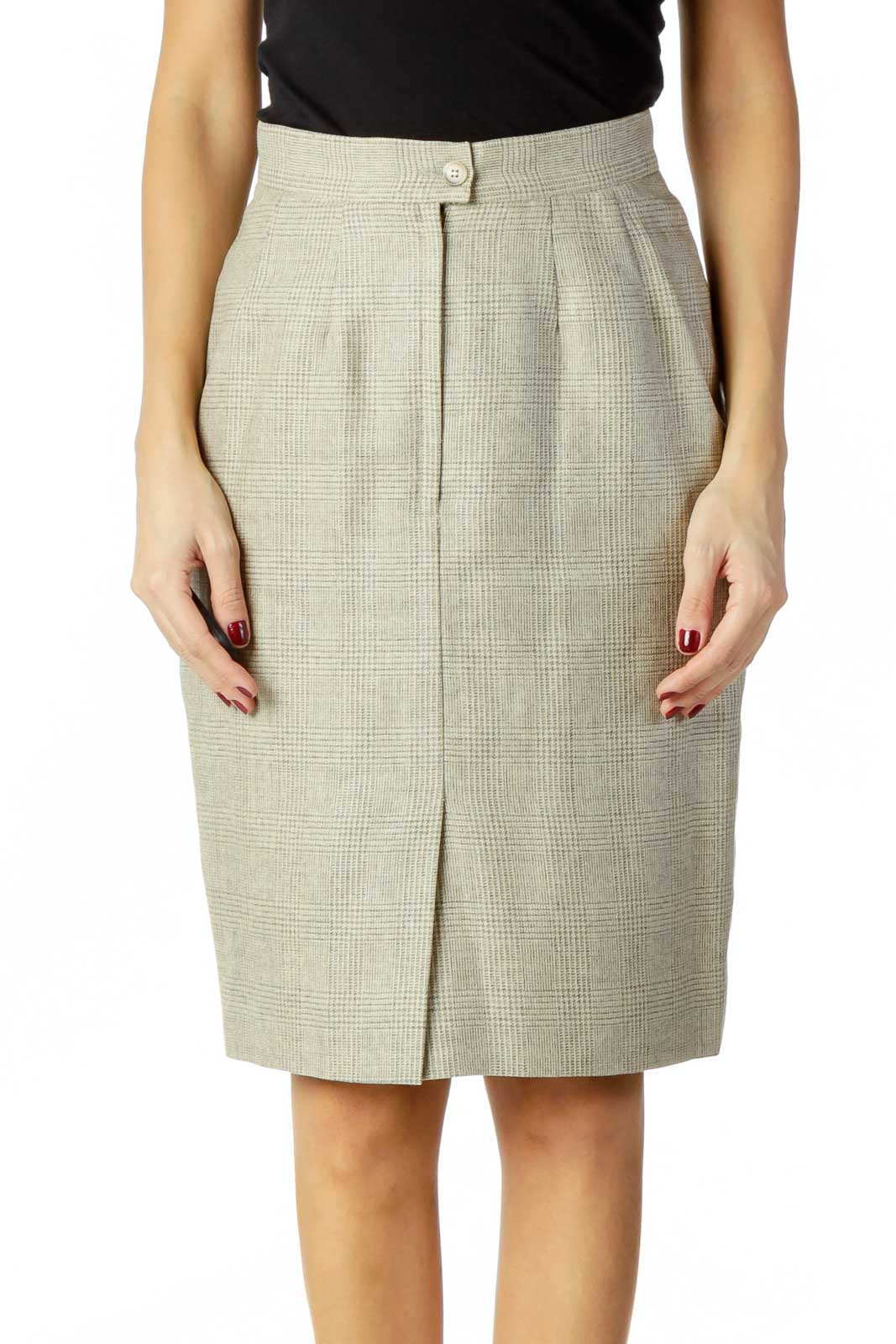 Gray Beige Houndstooth Pencil Skirt Front