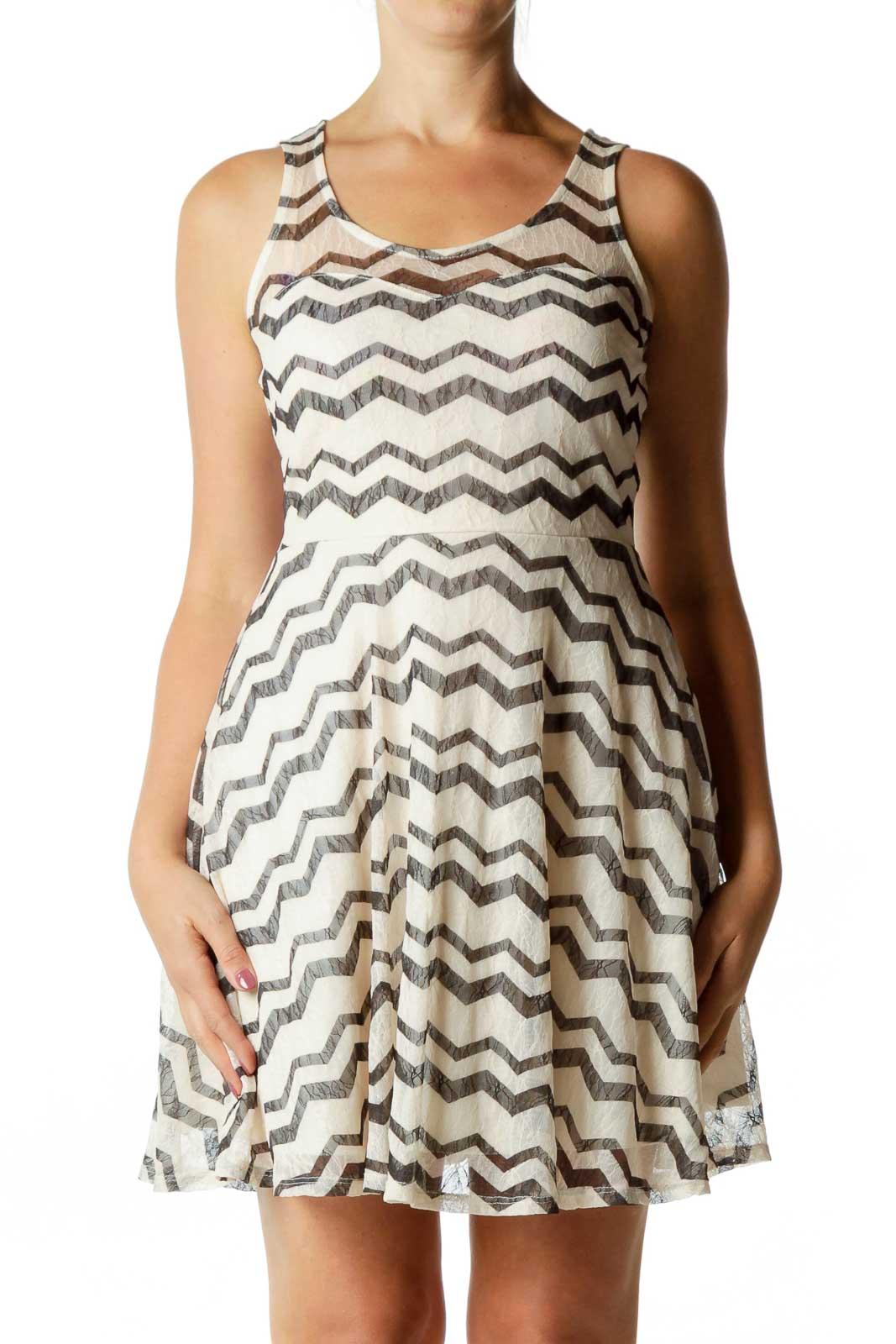 Black Pink Chevron Dress Front