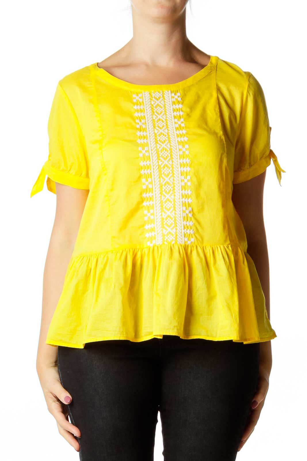 Yellow Embroidered Top Front