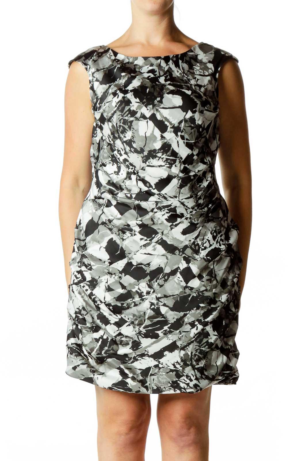 Black & Gray Sleeveless Dress Front