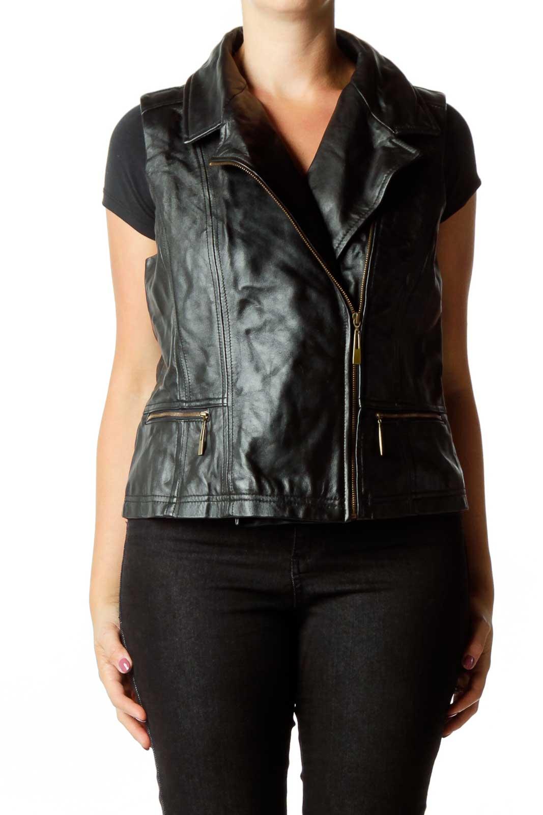 Black Faux-Leather Vest Front