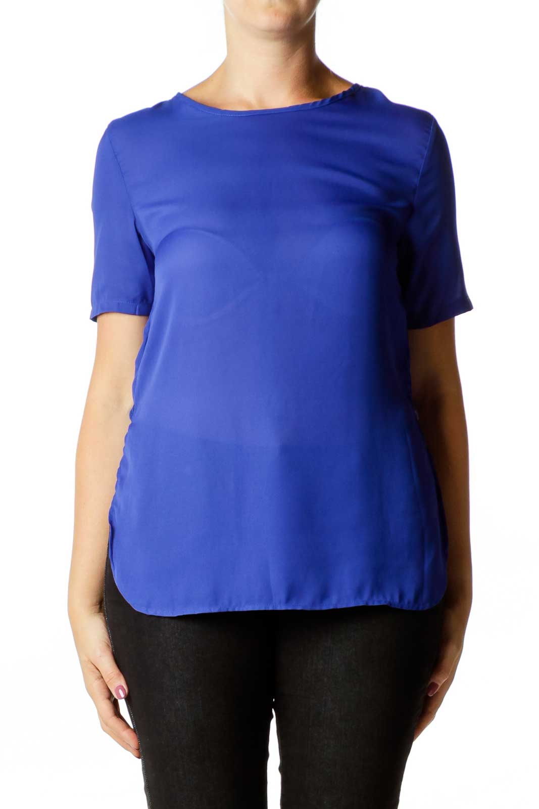 Blue Round Neck Blouse Front