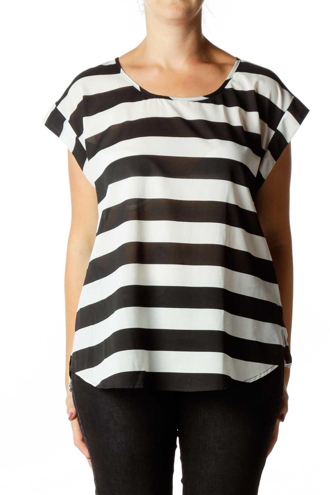 Black White Striped Blouse Front