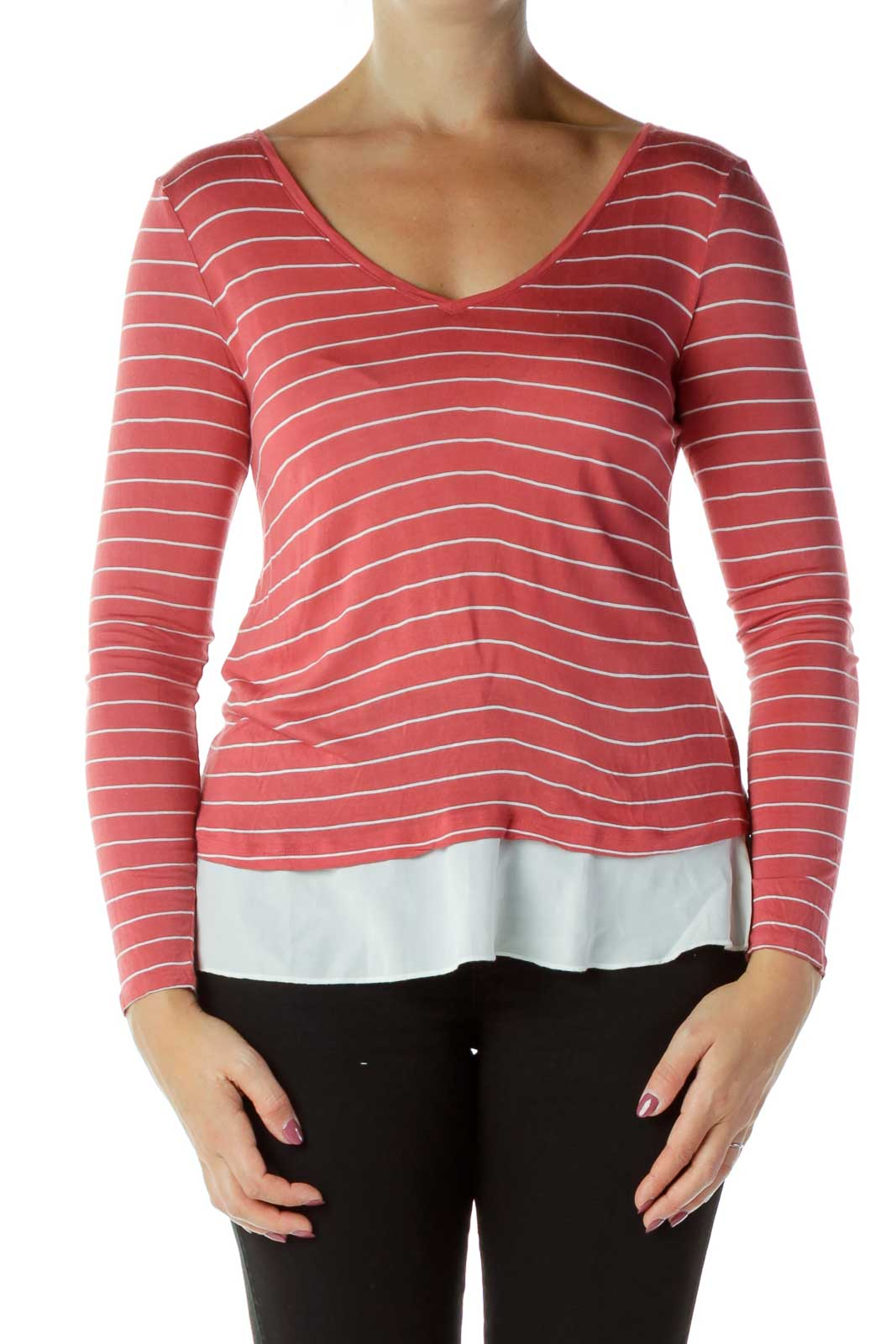 Red White Layered Blouse Front