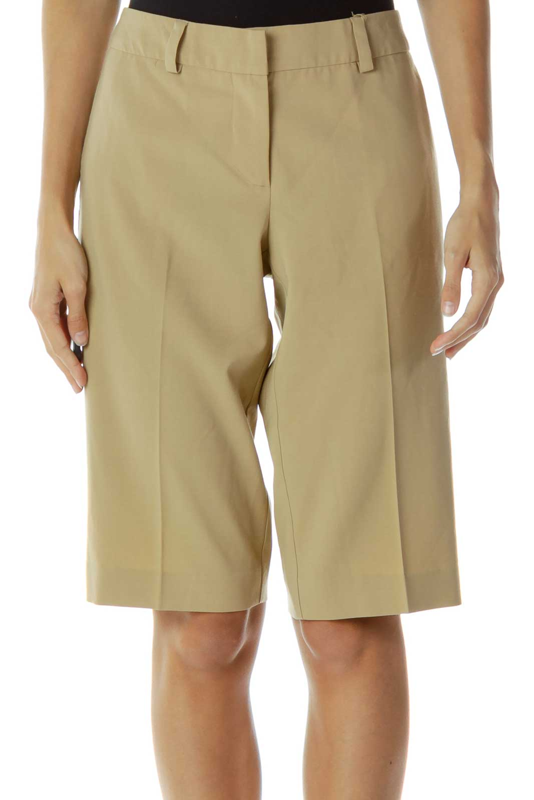 Brown Knee-Length Shorts Front