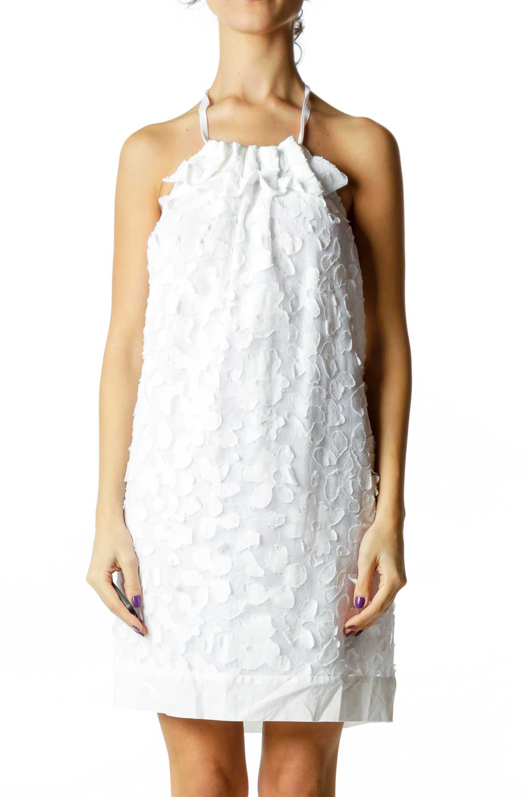 White Embroidered Floral Halter Dress Front