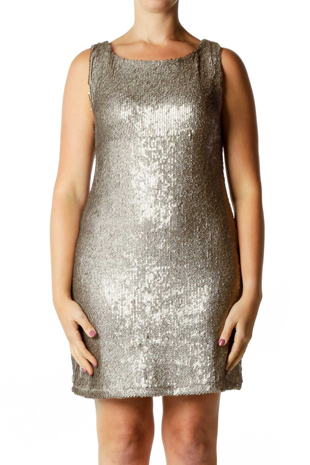 Gold Sequined Dress Front