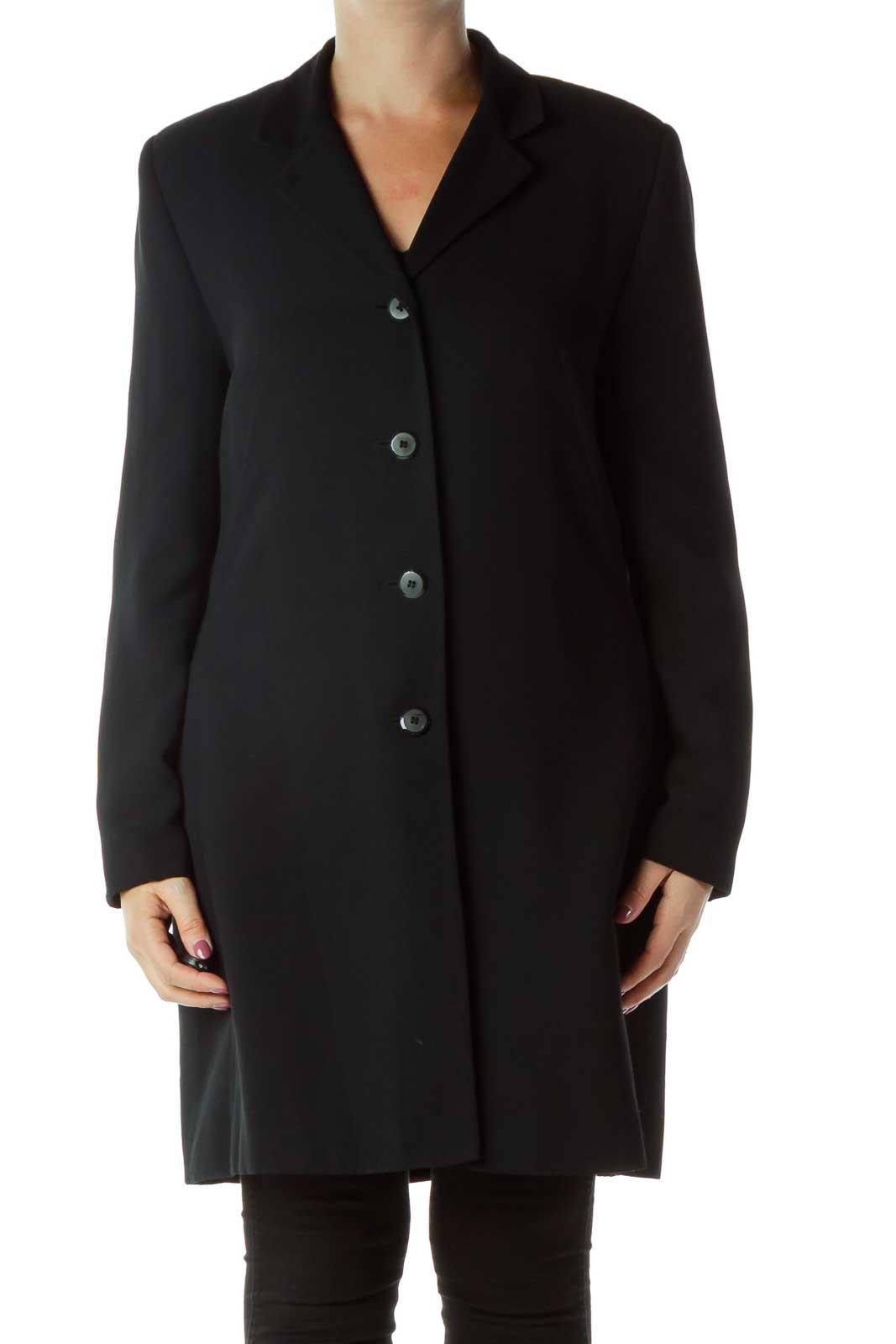 Black Collared Coat Front