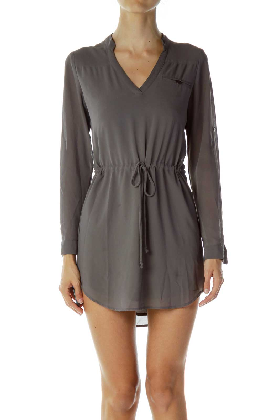 Grey Belted Dress Front
