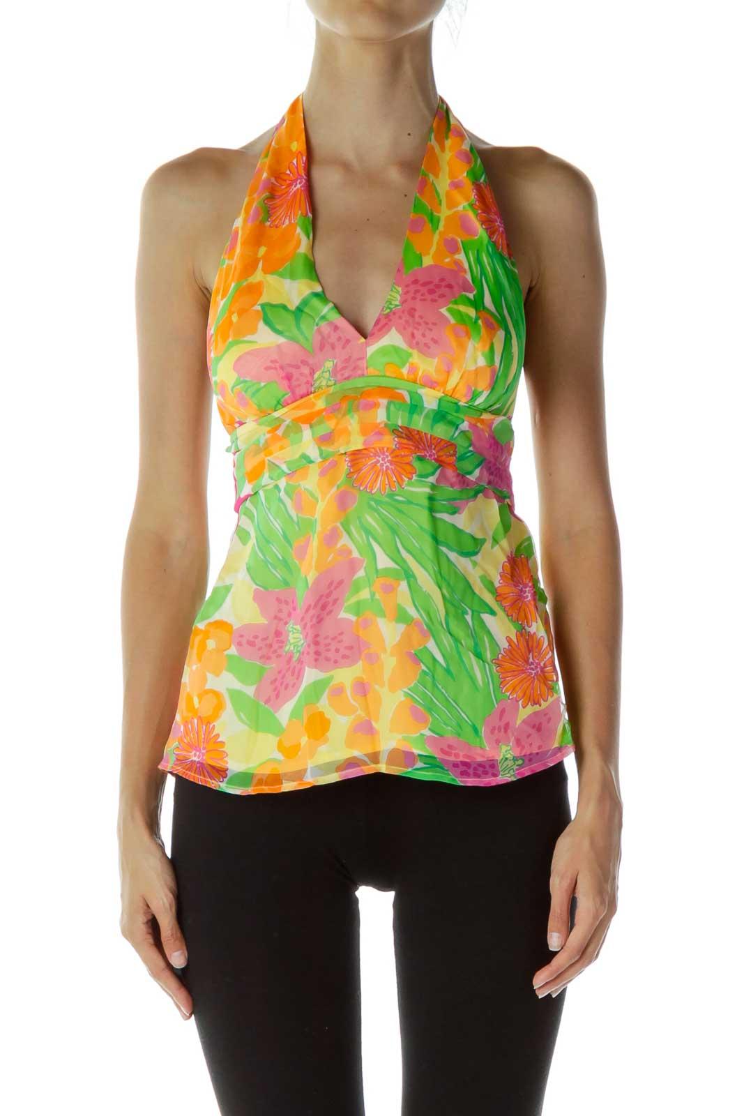 Multicolor Flower Halter Silk Tunic Front