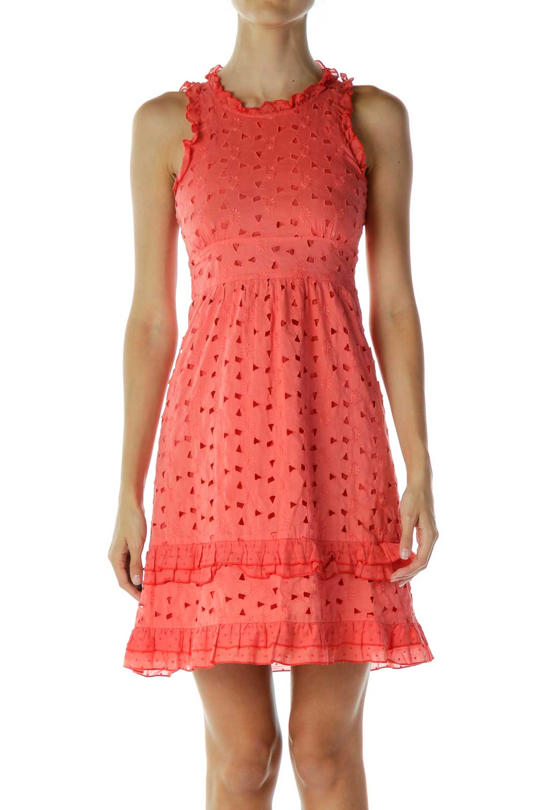 Orange Flower Ruffled Embroidered Day Dress Front