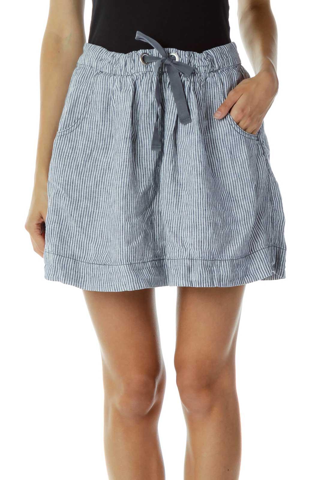 Blue White Pocketed Pinstripe Skirt Front
